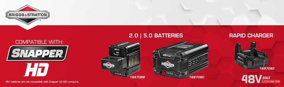 Snapper HD Briggs & Stratton 48v 48-volt battery 2.0 5.0 charger