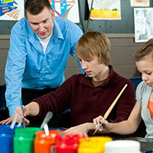 Art teacher and students