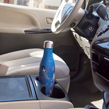 water botttles that;fit in cup holders;don't sweat;stainless steel;with designs