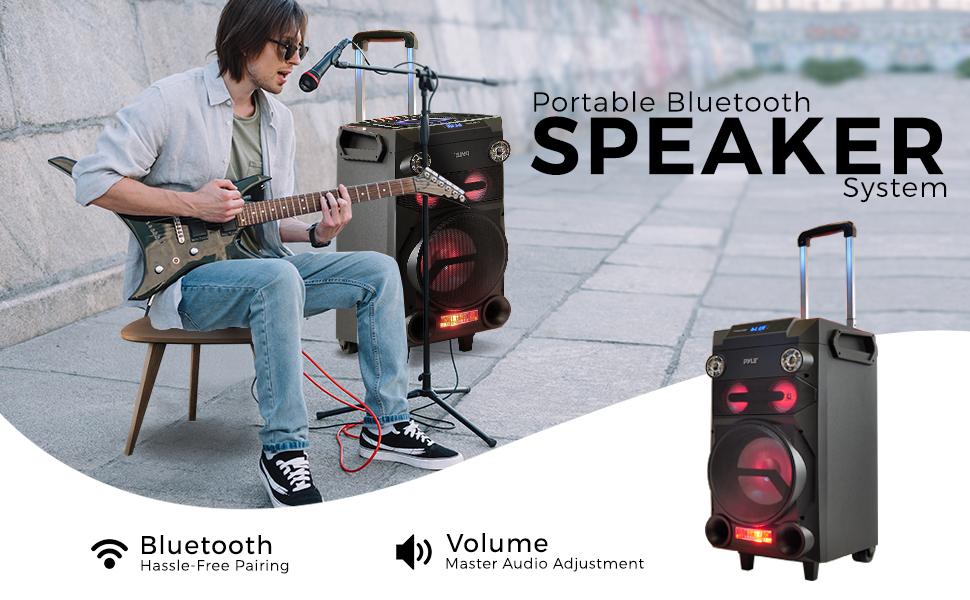 Portable speaker, wireless speaker, outdoor speaker, speaker with stand, speaker with microphone
