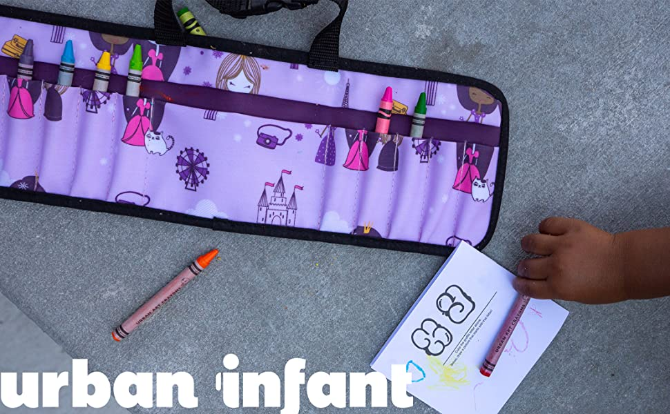 Urban Infant toddler travel crayon wallet open on ground