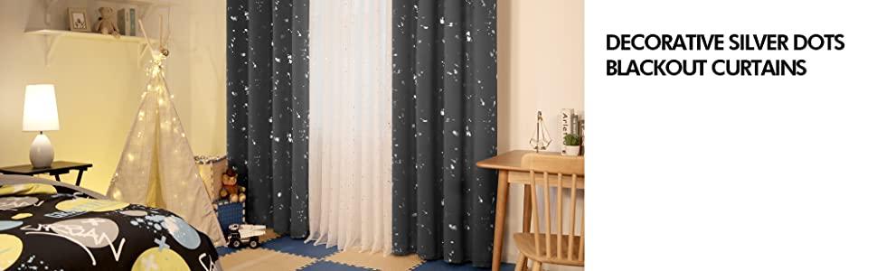foil print blackout curtains grey curtains