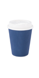 Navy paper coffee cups with white disposable coffee cup lids.  These paper coffee cups are 12 oz