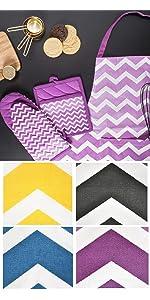 chevron apron,cute women apron,purple apron,dish towels,kitchen apron,kitchen dish towel,tea towel