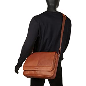 Leather Bag, Tablet, Laptop, Messenger, Kenneth Cole, RFID, Crossbody, Business, Travel