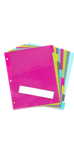 8 Tab Dividers, Insertable Dividers