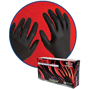 Night Angel Nitrile Black 4mil thick Disposable Gloves tattoo