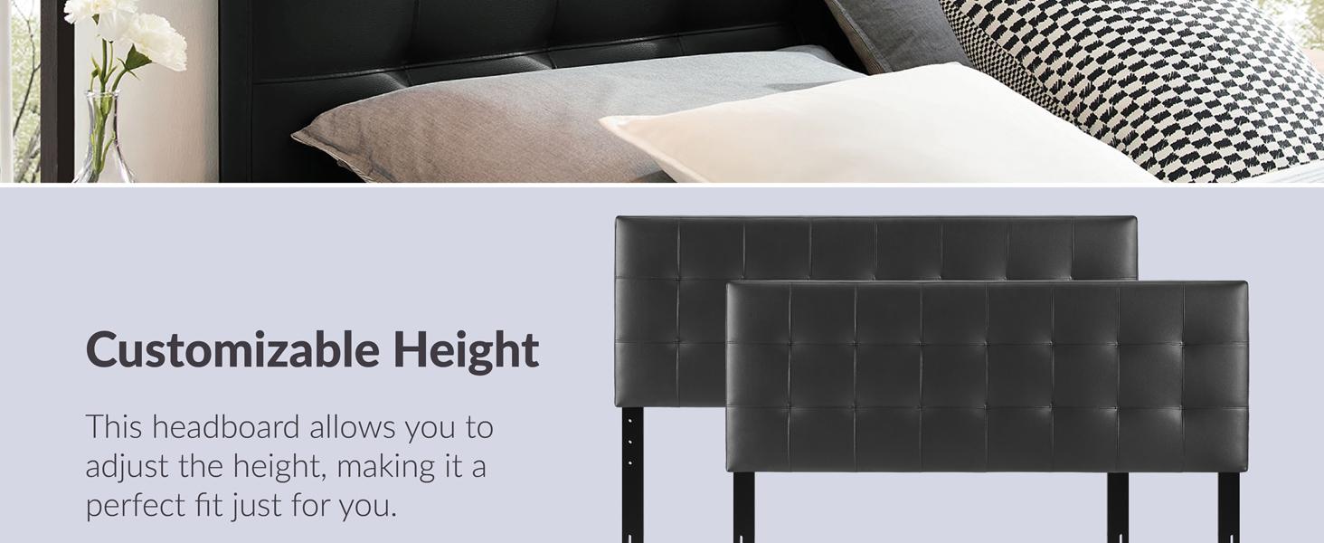 tufted headboard,fiberboard,plywood,vinyl upholstery,both lightweight,long-lasting