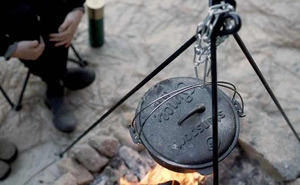 stansport camp fire tripod open fire cooker