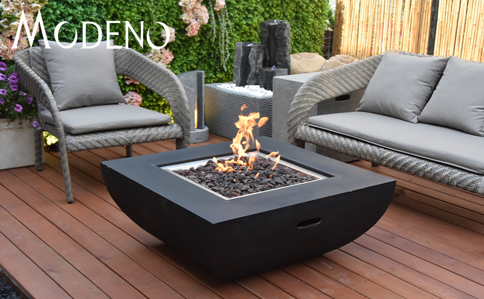 Modeno Aurora Outdoor Fire Pit Propane Table 34 Inches Square Firepit Table Concrete High Floor Patio Heater Electronic Ignition Backyard Fireplace Cover Lava Rock Included