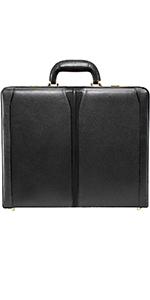 """Black Leather 4.5"""" Expandable Attaché Briefcase"""