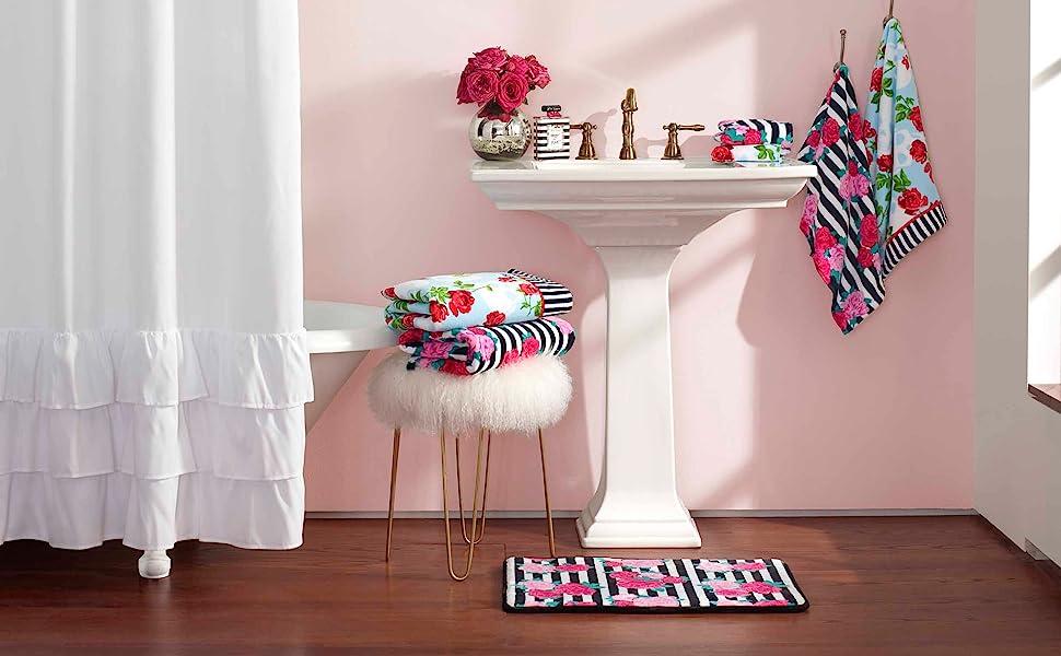 Betsey Johnson bath;Betsey Johnson;bath rugs;pink towels;black towels;bath towels;floral towels