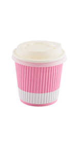 Pink paper espresso cups with a 4 oz capacity that are ideal for mini coffees and espressos.