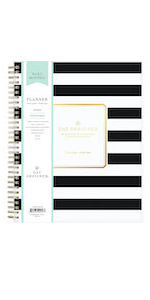 blue sky planners and calendars, day designer black stripe collection, 2020-21, daily monthly format