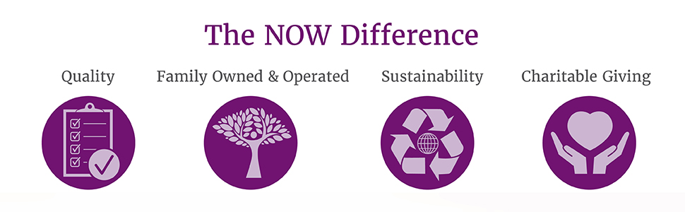 NOW, Difference, Quality, Family, Owned, Operated, Sustainability, Charitable, Giving