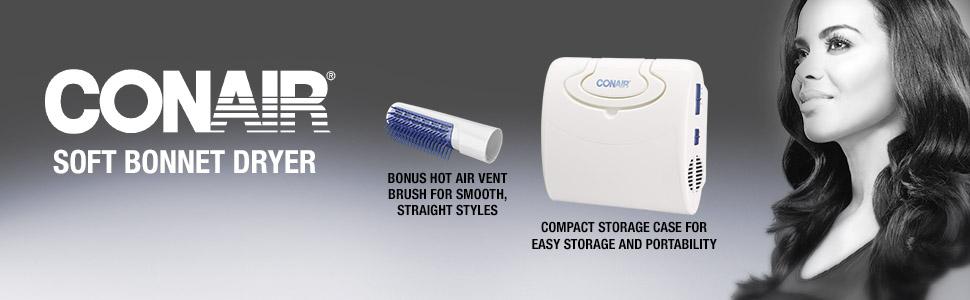 Conair Soft Bonnet Dryer; Bonus Hot Air Brush for Smooth, Straight Styles; Compact Storage case