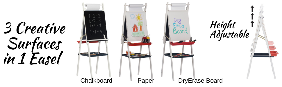 art easel for kids, kids art easel and chalkboard, height adjustable kids easel