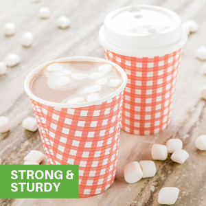 These disposable paper coffee cups are built with reinforced seams to prevent leaks and messes.