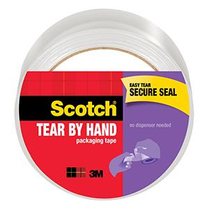 Scotch Brand Tear by Hand Packaging Tape, easy tear, secure seal
