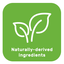 Naturally derived ingredients with plant leaf image.