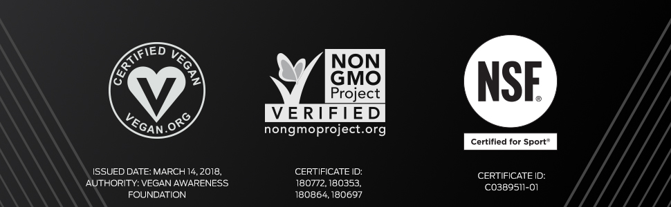 Vega Sport Premium Protein is certified vegan, Non GMO Project Verified, NSF Certified for Sport