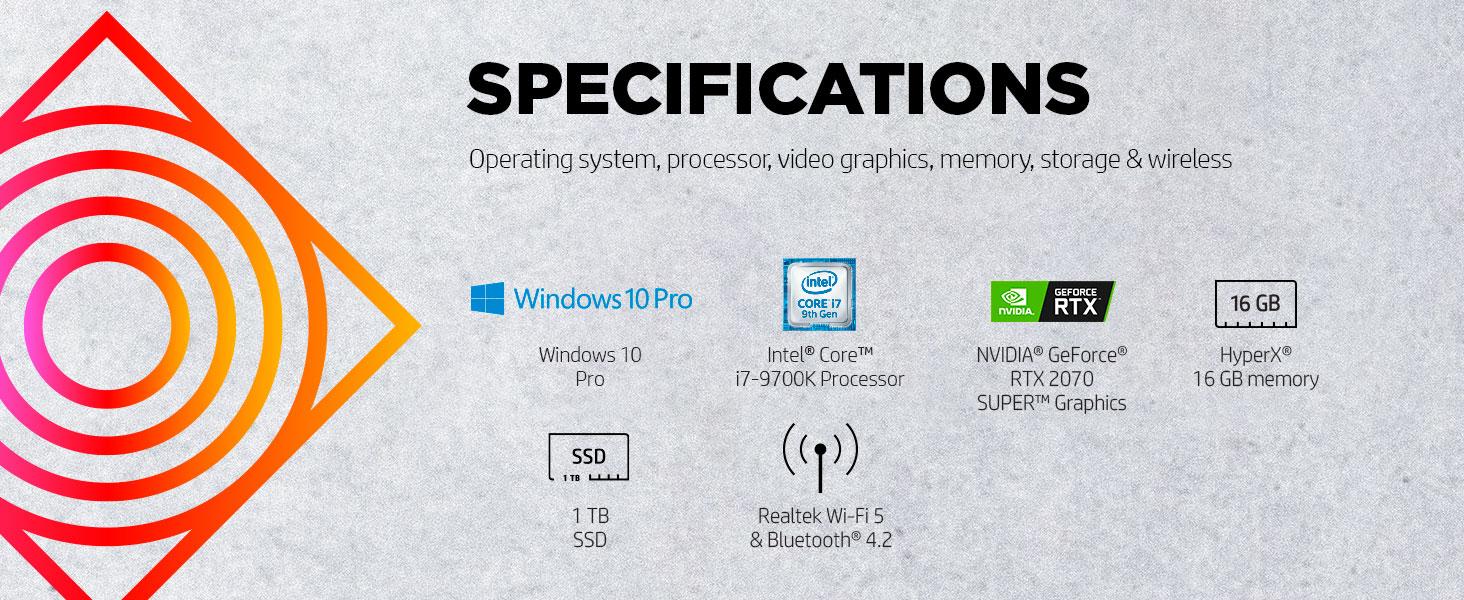 Intel Core i7-9700K NVIDIA GeForce RTX 2070 Super HyperX SSD solid state drive bluetooth