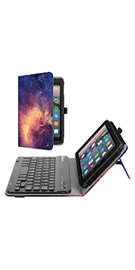 """Kindle Fire 7 tablet case 9th gen 2019 screen protector keyboard leather cover 7"""" inch display stand"""