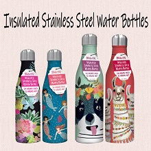 stainless steel water bottles that;don't sweat;fit in cup holders;hot;cold;with designs