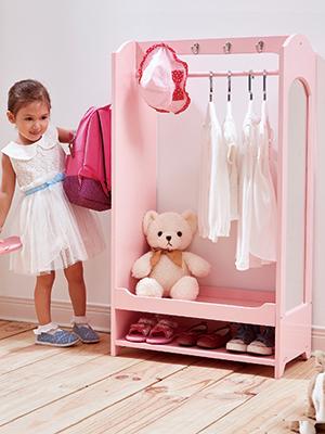 dress up storage, girls dress up, dress up unit girls, pink dress up storage