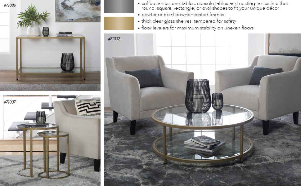 grey metal and glass modern living room tables, coffee table, end table, console table, gray