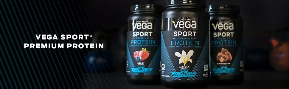 Vega Sport Premium Protein has 30 grams of protein that is vegan, gluten free, NSF, Informed Choice