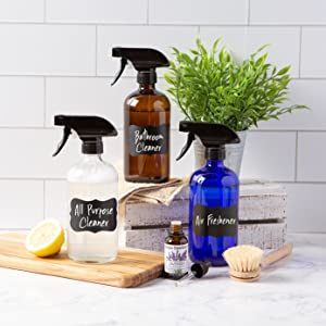 Glass Spray Bottles with Chalk Labels