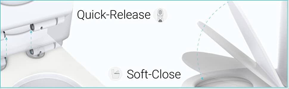 quick release, soft close