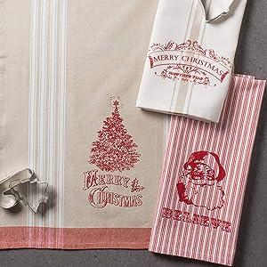 ASST VINTAGE PRINT CHRISTMAS DISHTOWELS SET/3