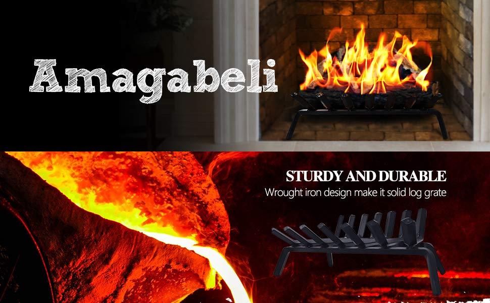 Amagabeli Fireplace Log Grate 24 inch Bundle Fireplace Bellows 19x 8 Large Wood