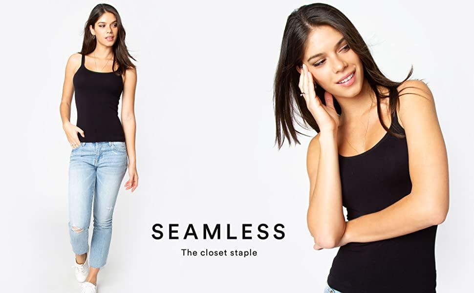 seamless, tank, top, tank top, scoop neck, cami, ribbed, under shirt, under, layering, layer, shirt