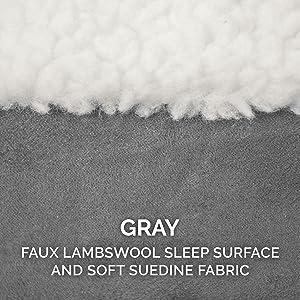 sleep surface; sherpa; fleece; sheepskin; suede; gray; smoke; granite; gravel; white