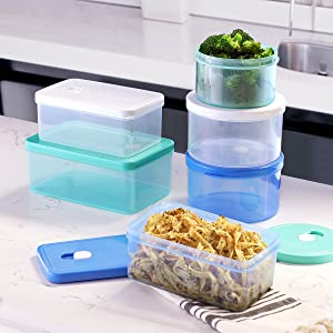 plastic freezer ventilation jar organizer-bins cereal small compartment locking-lids fruit deli mini