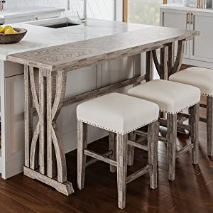 fairview distressed acacia barstool table set jofran