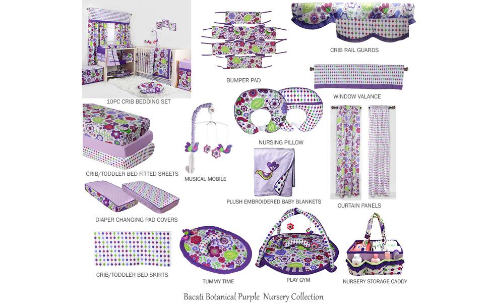 Bacati Botanical Purple/Multicolor Nursery Decor