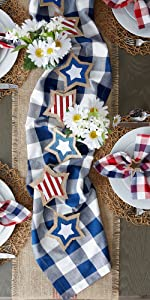 outdoor tablecloth,red decor,jute runner,red gingham,navy napkins,red and white stripe,party table