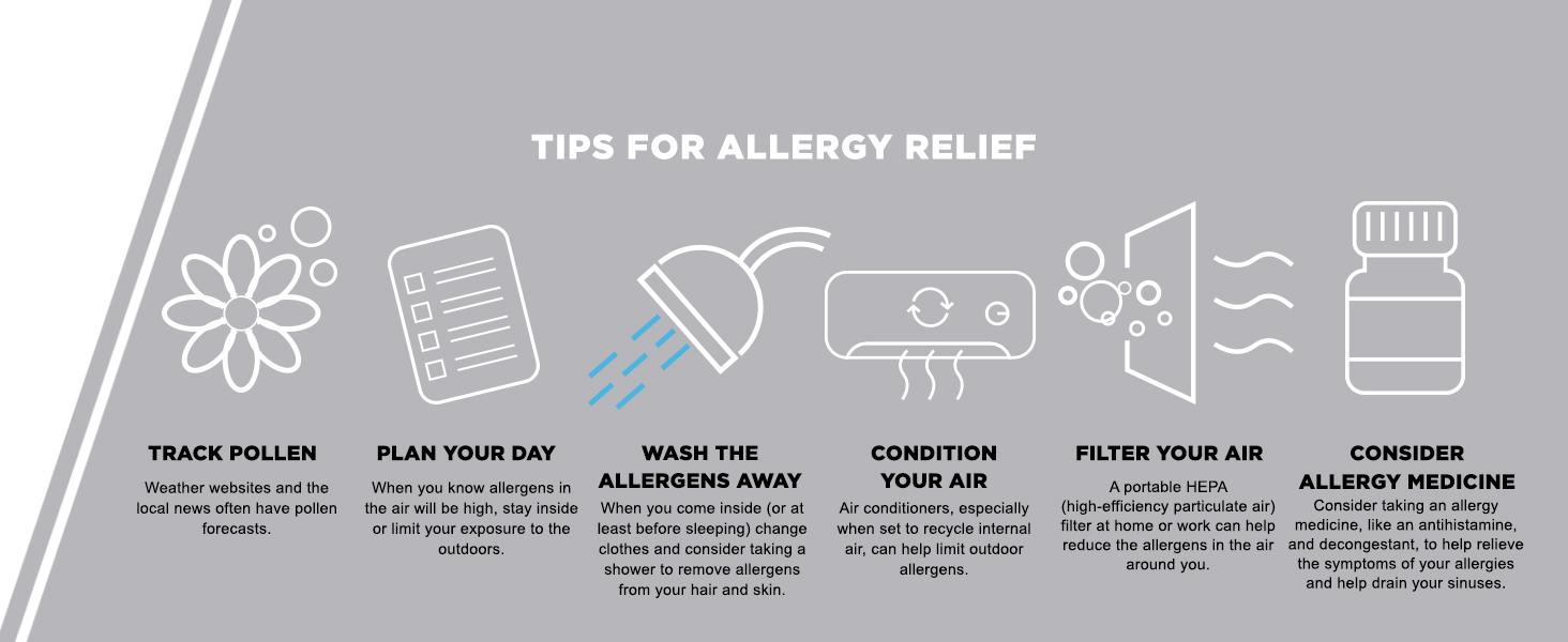 allergy relief tips, antihistamine, decongestant, track pollen, relieve allergy symptoms, sinuses