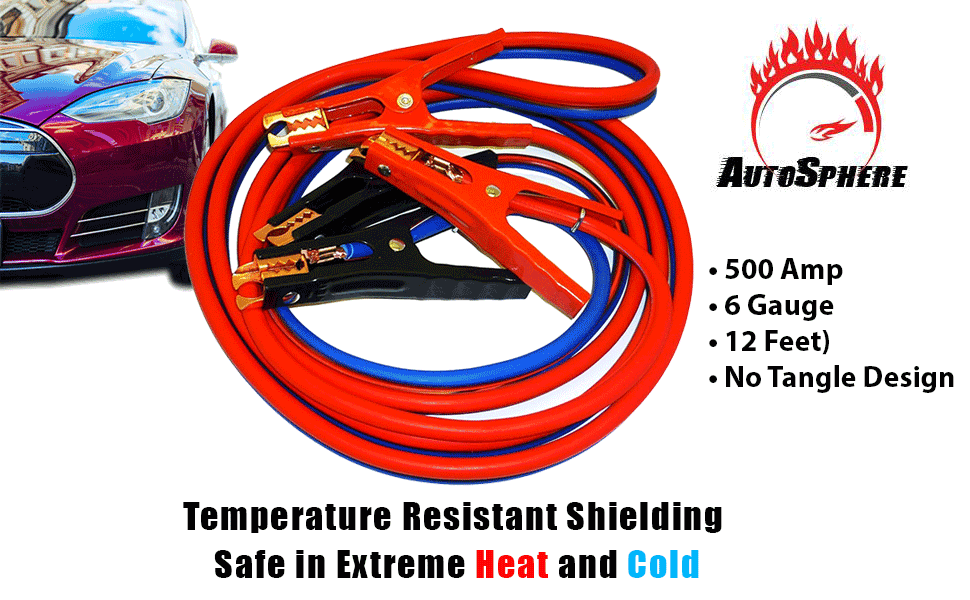 Super Heavy Duty 500 amp 6 gauge No Tangle  Battery Booster Jumper Cables Cars Trucks Vehicles