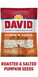 DAVIDs salted and roasted pumpkin seeds