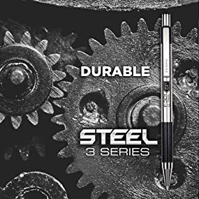 Zebra Steel 3 Series, Stainless Steel line from Zebra, durable stainless steel writing instruments