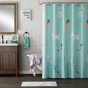 scribble pup, dog shower curtain, dog bathroom decor, bathroom decor, shower curtain with dog