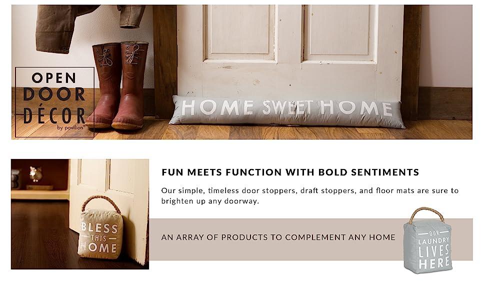 Open Door Decor; door stopper; draft stopper; function; fun; sentiment; witty; home; decor; lake