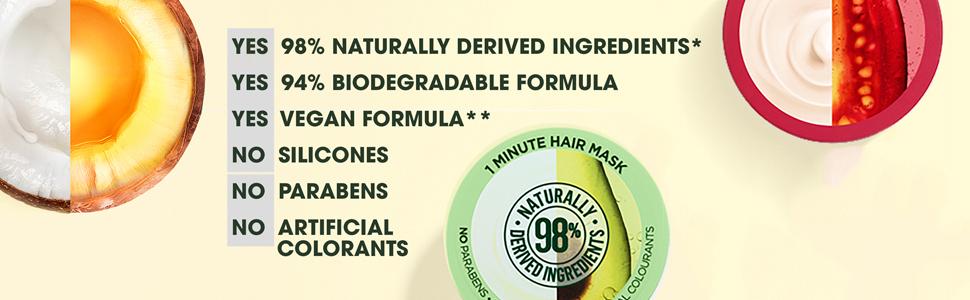 98% Naturally Derived Ingredients, 94% Biodegradable Formula, Vegan Formula, No Parabens