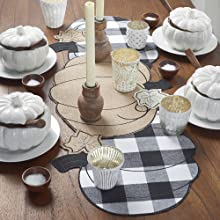 Elrene Home Fashions Burlap and Check Pumpkin Centerpiece Runner