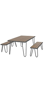 novogratz dining set;outdoor dining set;novogratz outdoor dining set;outdoor table and bench;picnic